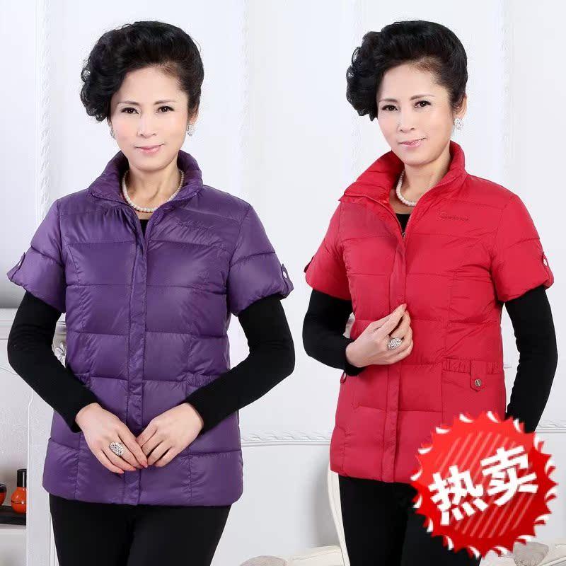 加棉衣服中年人半截袖坎肩时尚65加厚50棉马甲45长款冬季女人穿