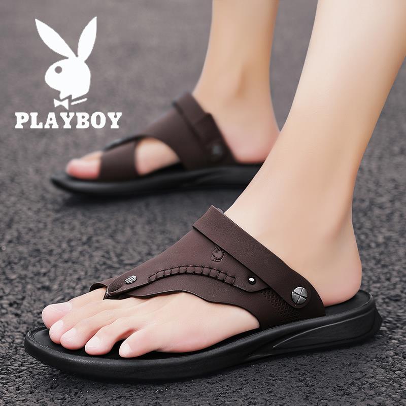 Playboy slippers mens summer wear deodorant mens sandals sports leather antiskid wear-resistant Beach Flip Flop