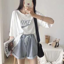 运动休闲套装女夏季网红韩版潮牌宽松上衣短裤跑步学生时尚两件套