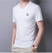 乔奇 阿玛尼夏装男短袖丝光棉T恤休闲V领纯色体恤衫修身中青年潮