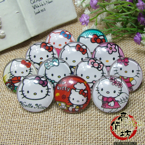 Hello kitty cat a brooch jewelry time gem crystal badge day anime pin to map customized