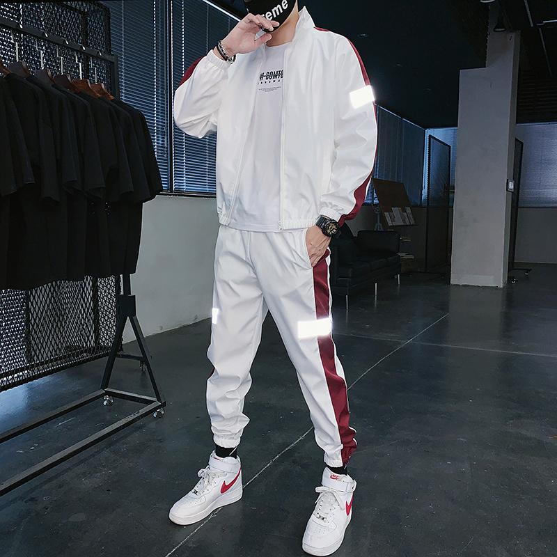 Autumn 2021 mens leisure two-piece suit youth student sports suit fashion trend pants suit
