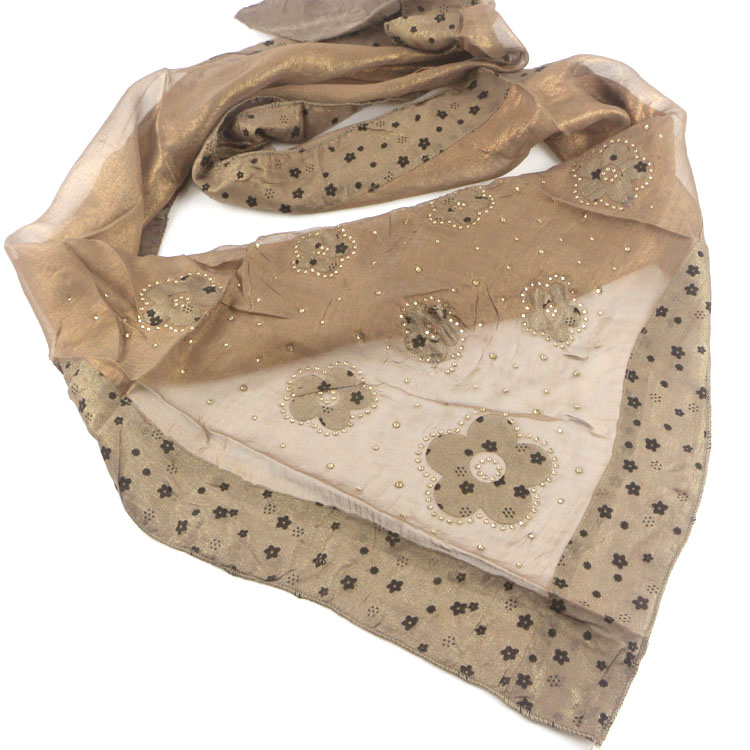 Gold and silver light Chiffon shawl hot drill flower scarves flocking printing splicing large triangle scarf