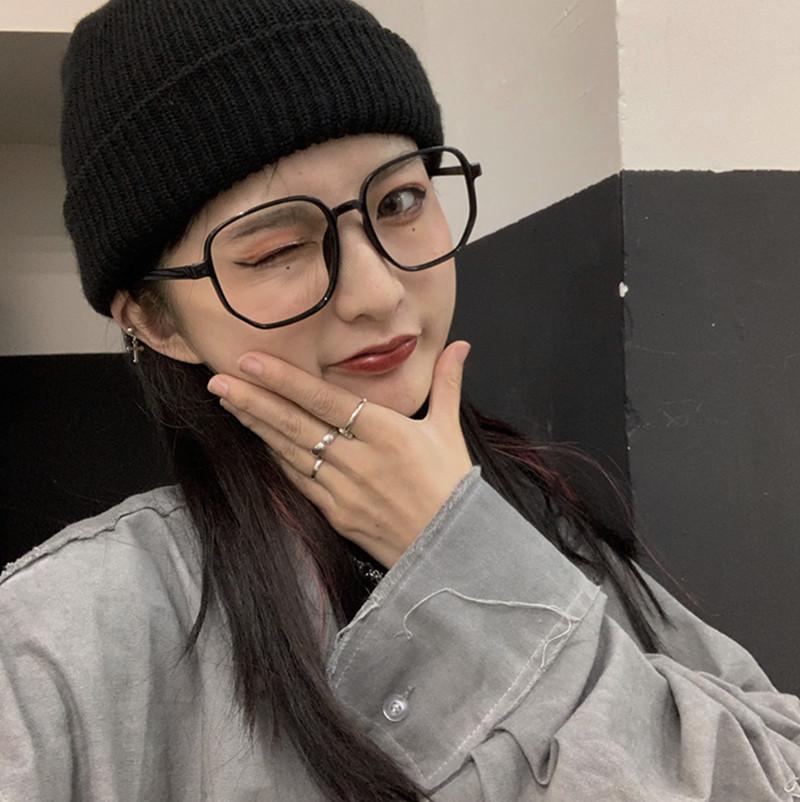 韩版ins潮人黑框无镜片眼镜框镜女网红潮流配饰圆脸素颜眼镜架