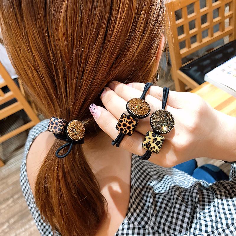 韩国条纹头绳小清新格子简约个性豹纹方珠发圈森女橡皮筋皮套发绳