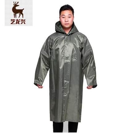 大码加厚雨衣长款连体雨衣帆布雨披老式大褂工地雨衣男 加厚版亮