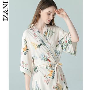 IIZZINI原创 2020睡袍女夏薄款冰丝中国风蔷薇花奢华睡衣晨袍浴袍