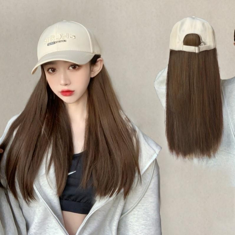 假发女长发帽子假发一体时尚长卷发网红夏天渔夫帽带发自然全头.