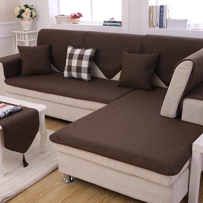 券后40.28元咖啡色沙发垫布艺毛绒坐垫子防滑罩
