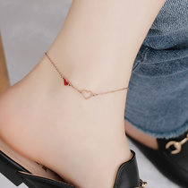 DOT create Korean version of Rose gold Little hearts foot chain woman simple sexy trick peach blossom titanium steel ankle foot ring foot chain jewelry