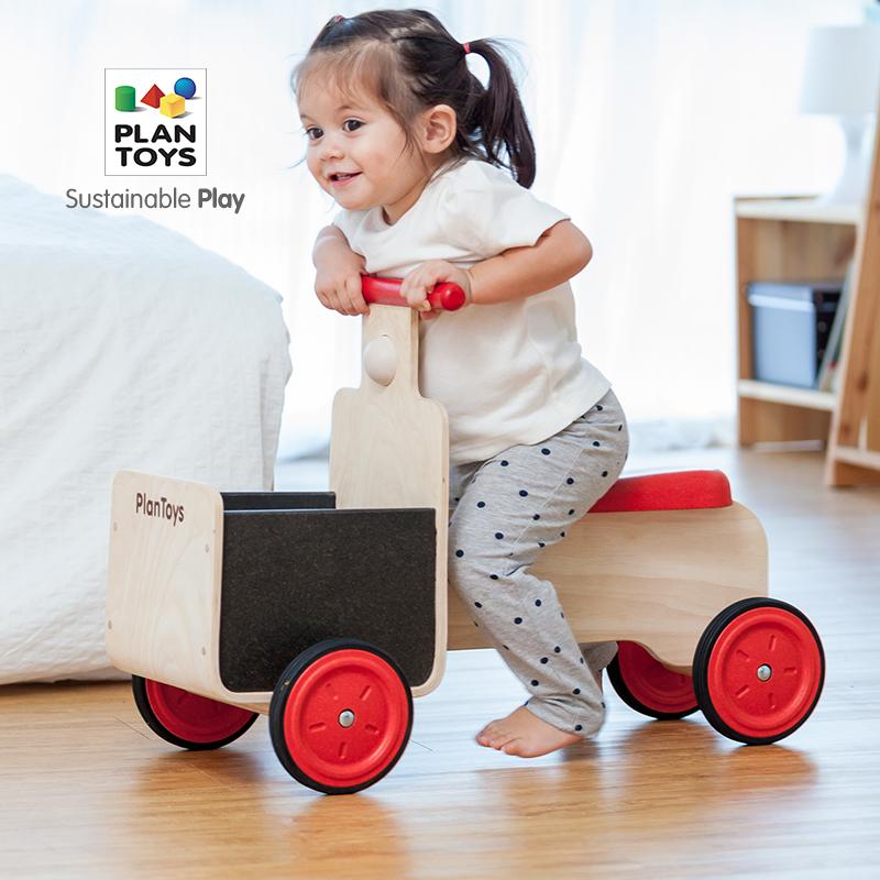 进口PlanToys3479踏行运输车 多功能宝宝学步车 木制滑行车玩具,可领取50元天猫优惠券