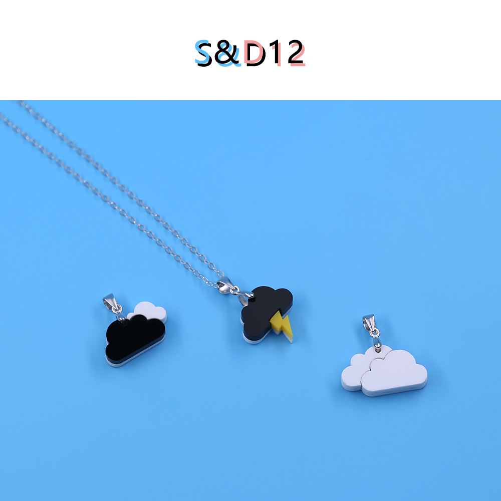 Sand12 lightning cloud mood original 925 Silver Necklace cloud thunder braided elder brother and best friend couple black and white Pendant
