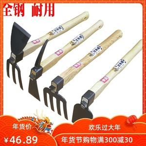 家用不锈钢小锄头农具户外种菜除草挖土种花两用锄头小耙子钉耙镐