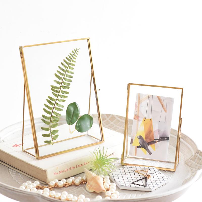北欧简约创意现代金属玻璃相框植物标本夹家居房间装饰品摆台67寸热销113件限时2件3折