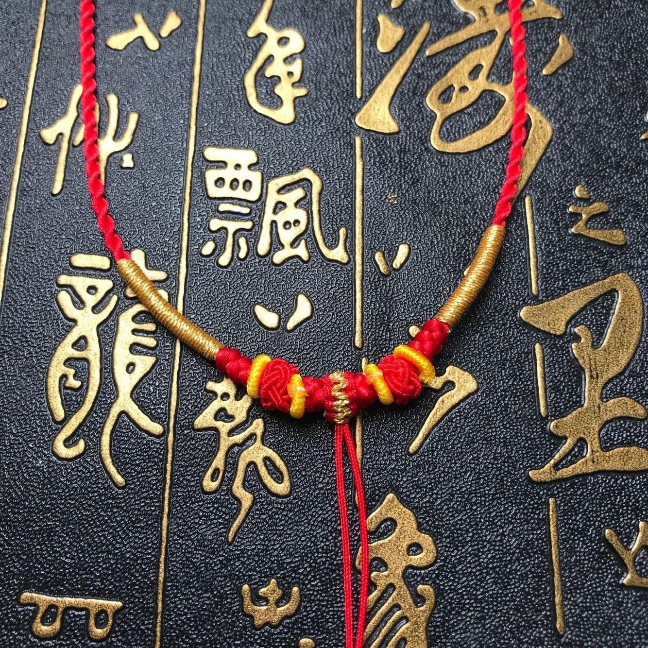 新款金镶玉小猪佩奇貔貅项链吊坠挂件项链编绳精美手工编织挂绳