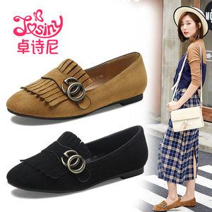 【清仓】卓诗尼秋季流苏低跟内增高时尚中口方头单鞋142717133
