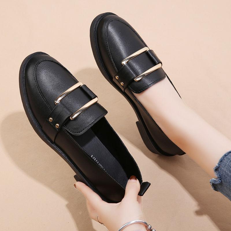 2020秋季新款低跟英伦风小皮鞋韩版女士百搭豆豆鞋粗跟乐福鞋单鞋