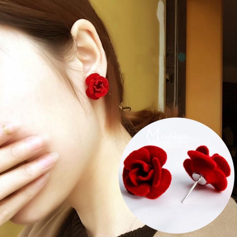 耳钉气质时尚立体玫瑰花耳环酒红色大红色新娘韩国花朵女耳饰品