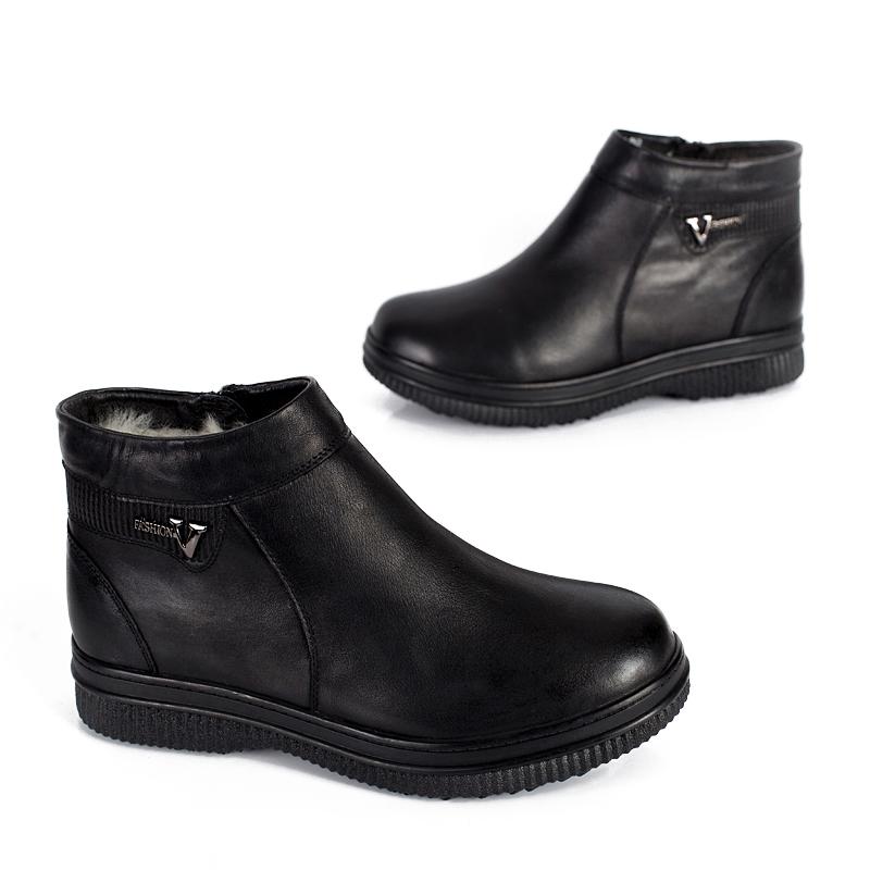 不倒翁防滑鞋男鞋中老年父亲鞋羊毛加厚真皮软底爸爸冬季鞋hxj111
