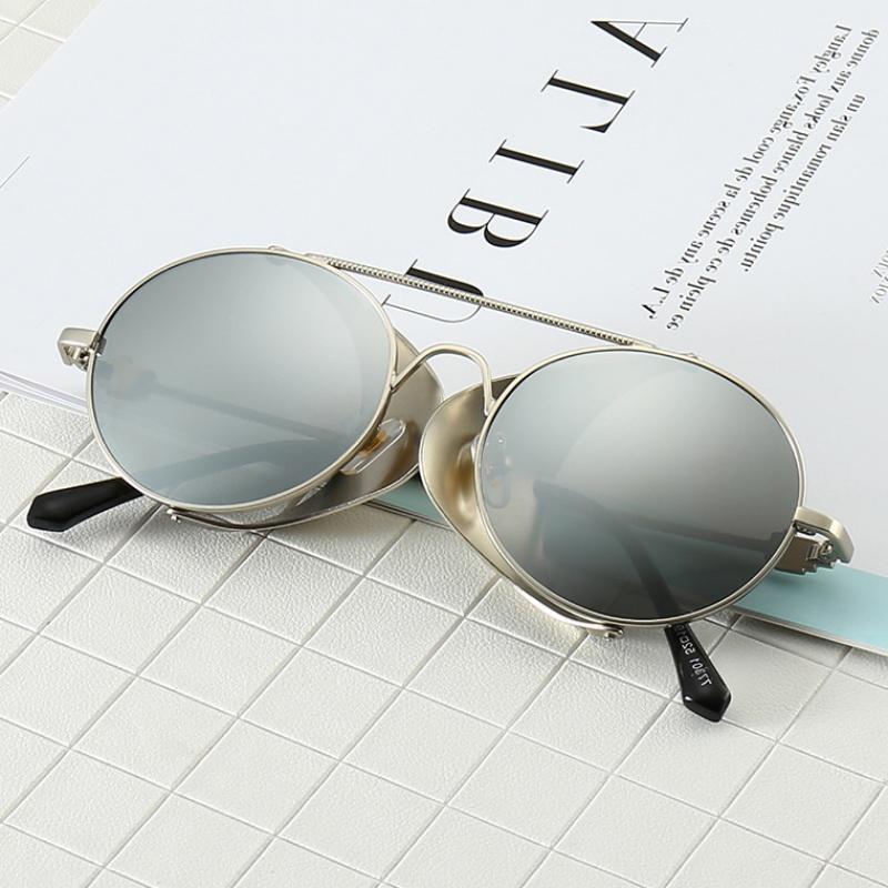 2019新款太阳眼镜蒸汽朋克太阳镜跨境亚马逊圆形复古墨镜厂家直销