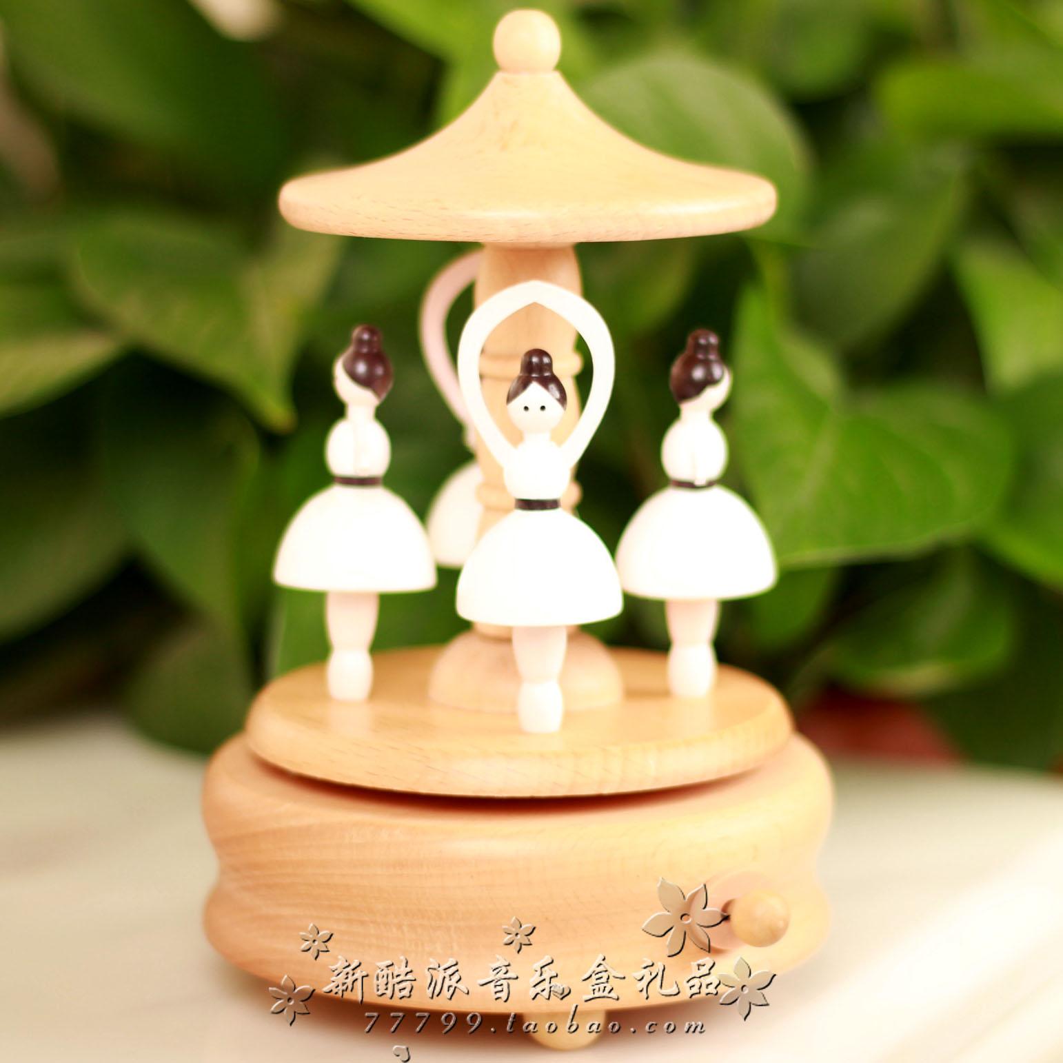 音乐盒八音盒精品木质发条旋转芭蕾舞女孩男女生日儿童情人节礼物
