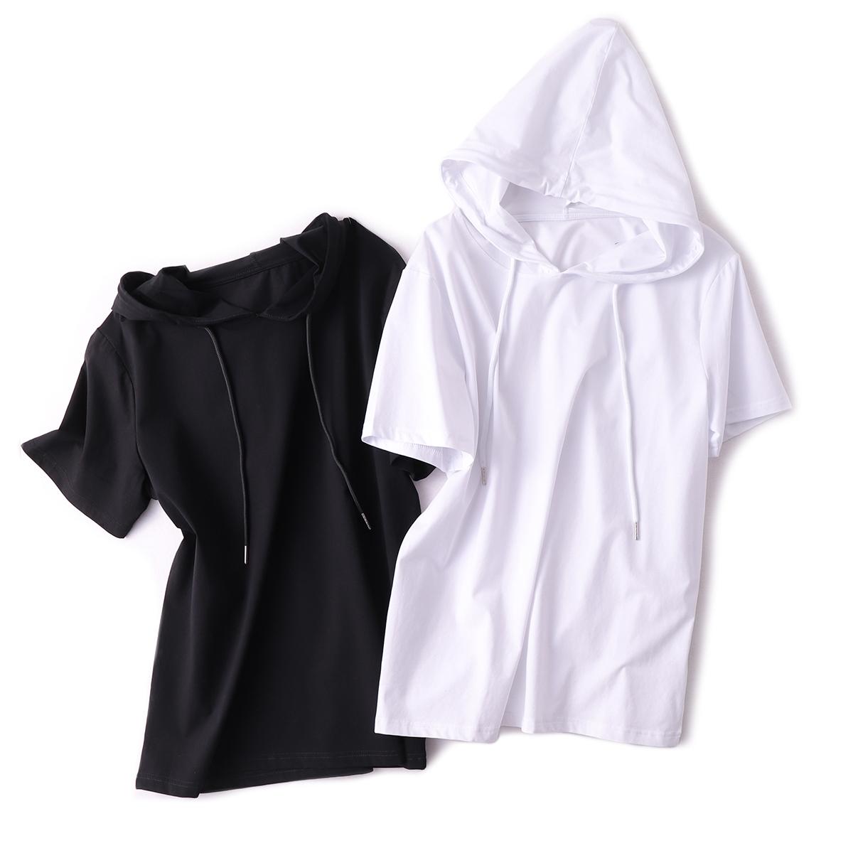 热销20件买三送一SKYINTL春夏新款上衣女时尚宽松纯色连帽短袖纯棉白色t恤女2019