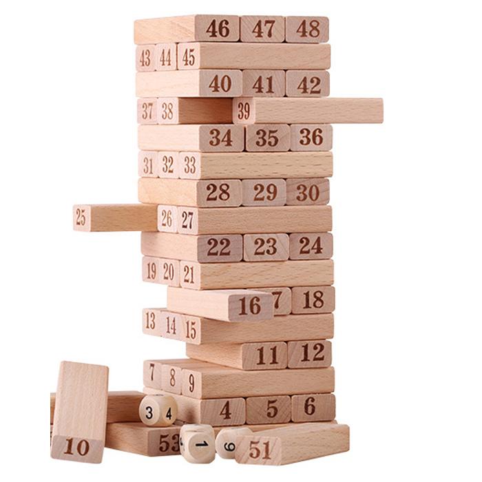51粒原木抽抽乐层层叠抽积木玩具  木制亲子互动桌面儿童益智游戏