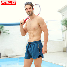 FRLO swimming trunks men's flat-angle elasticity loose quick-drying fashion zipper pocket fully lined swimming pool soaking hot spring beach pants