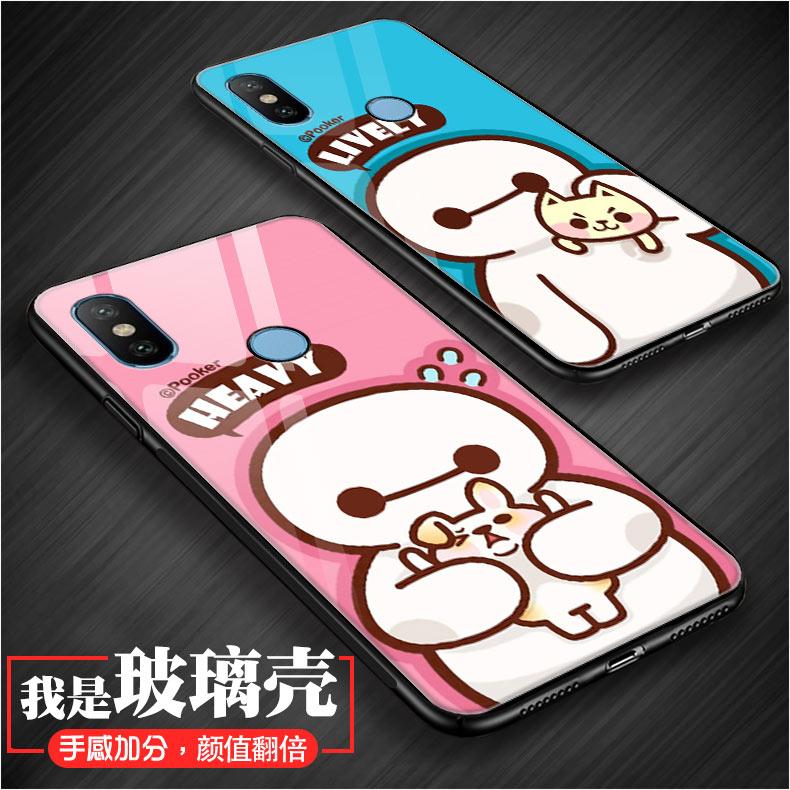 小米6X手机壳Xiaomi MIX2s玻璃彩壳MXI2s保护套MDE5大白卡通后盖M1X2s钢化贴膜硬外壳5.99寸猫咪创意男潮女款