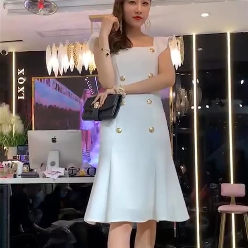 2020夏季新款职业女装欧韩站气质名媛风女士精品收腰显瘦连衣裙潮