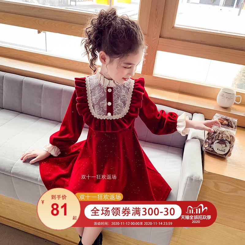 女童加绒连衣裙冬装2020新款洋气公主裙韩版女孩新年红色丝绒裙子