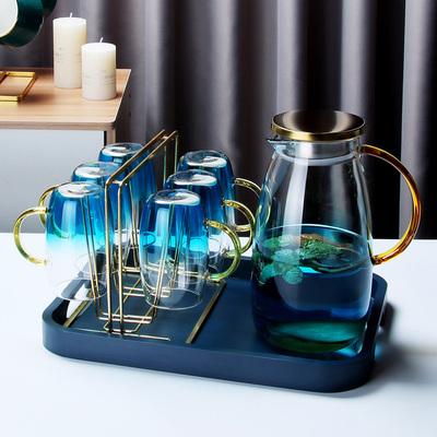ins北欧风轻奢云石冷水壶家用耐高温茶杯玻璃凉水壶水杯客厅套装
