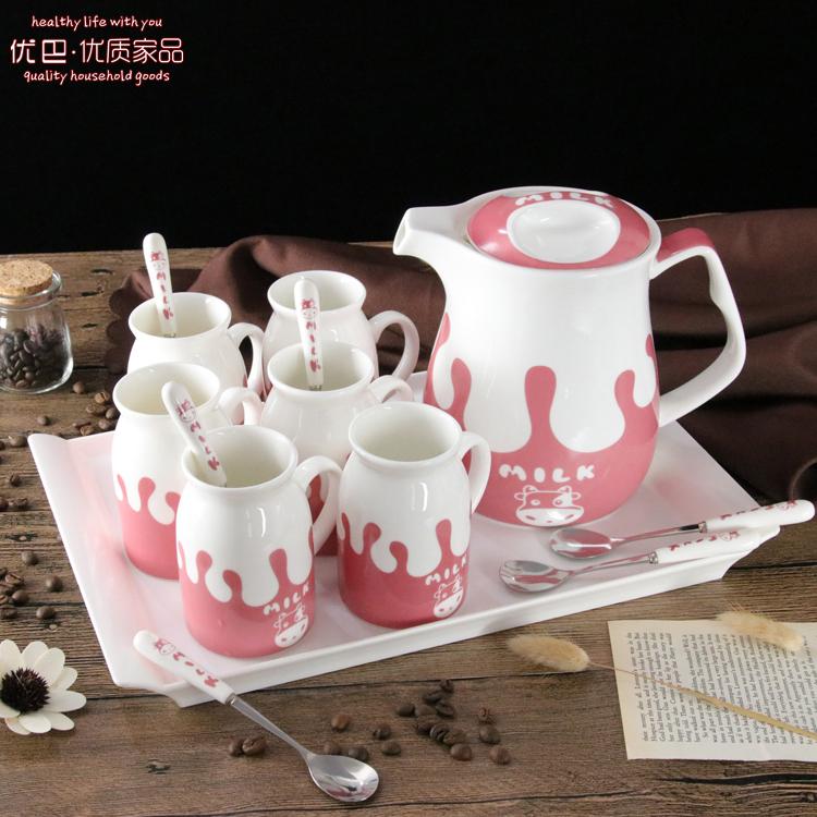 Отлично пакистан товары для дома керамика вода оснащен лоток установите творческий сопротивление горячей холодный прохладно чайник чашки сын снаряжен ложка гостиная домой