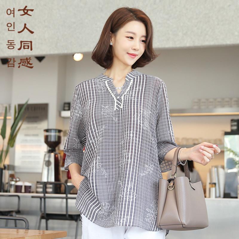 韩国代购2018夏品牌中老年女装妈妈装条纹V领气质上衣显瘦薄T恤