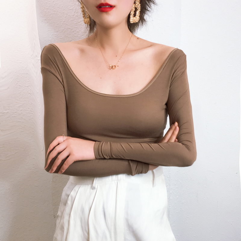 2020莫代尔低领打底衫长袖t恤女大码修身显瘦内搭纯色薄款上衣