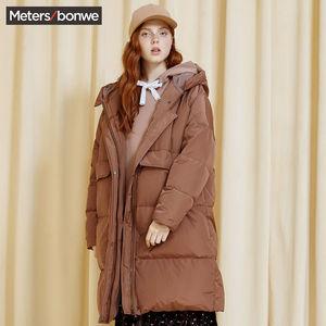 【清仓】美特斯邦威羽绒服女冬装时尚潮流连帽加厚过膝面包羽绒服
