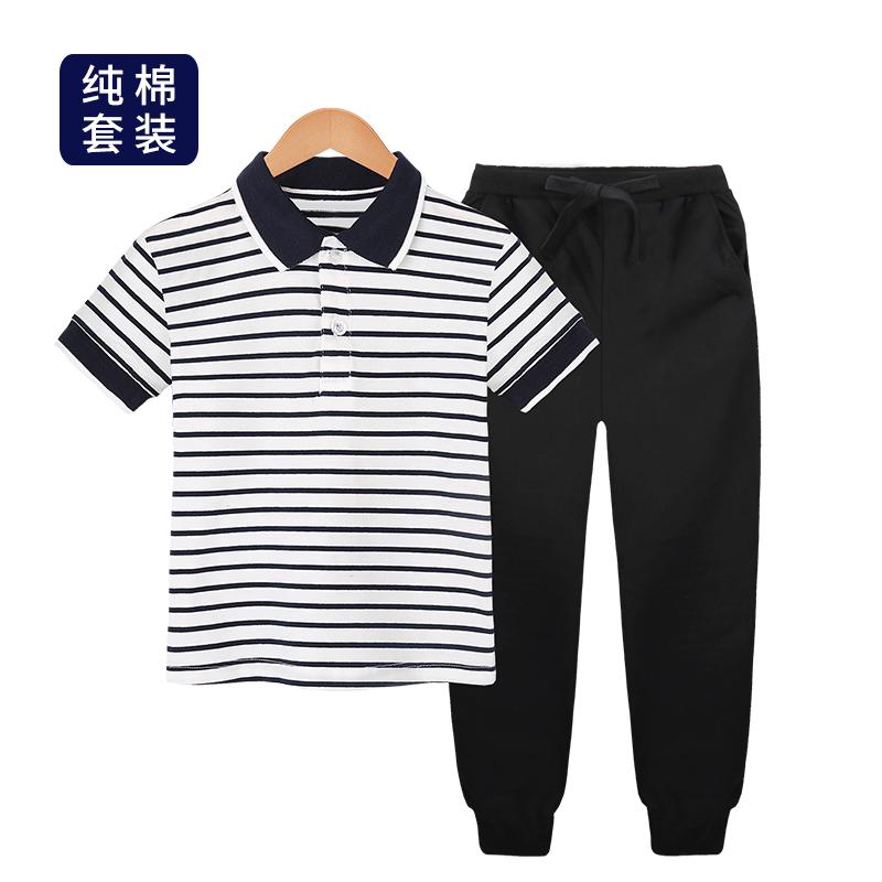 (用105.1元券)男童夏装套装2019夏季中大童短袖POLO衫两件装小学生休闲儿童长裤
