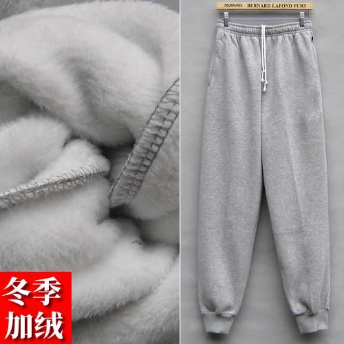 冬季保暖男士加绒加厚不倒绒休闲运动长裤宽松束口束脚针织卫裤