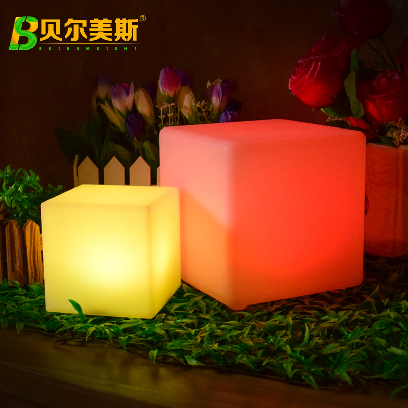 Outdoor LED lighting furniture tea table bar table chair combination square stool KTV cube stool colorful bar stool