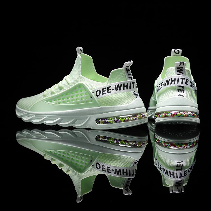 恩施耐克白鞋男夏季针织运动鞋子男潮鞋绿色透气网面跑步气垫鞋百