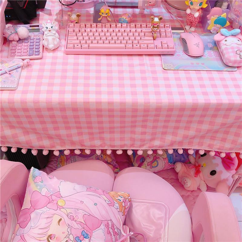 粉色田园大粉格子桌布化妆桌书桌