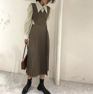 廣州APM韓版chic秋款時尚氣質側扣背心百褶裙寬鬆中長款連衣裙 女