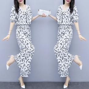 阔腿裤套装女2021新款夏季流行女装韩版时尚气质雪纺上衣两件套夏
