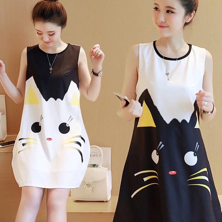 夏季新款韩版无袖印花卡通连衣裙