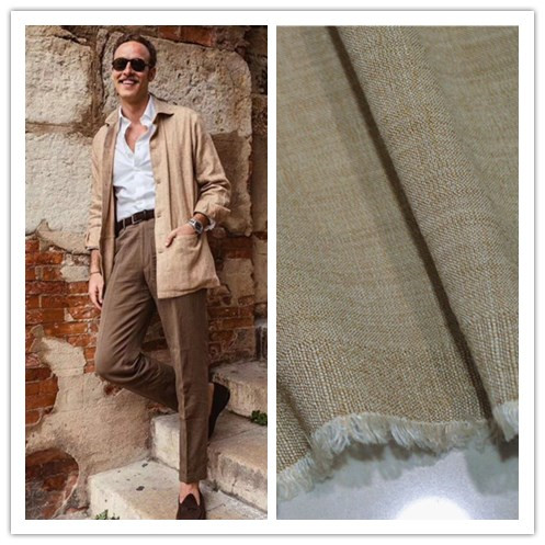 Spring and summer Italian high Duan apricot wool linen material suit, trousers, dress, windbreaker, shirt and vest