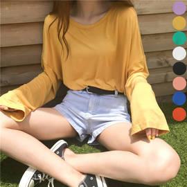纯色纯棉垂感莫代尔防晒T恤女长袖打底衫薄款学生宽松糖果色上衣图片