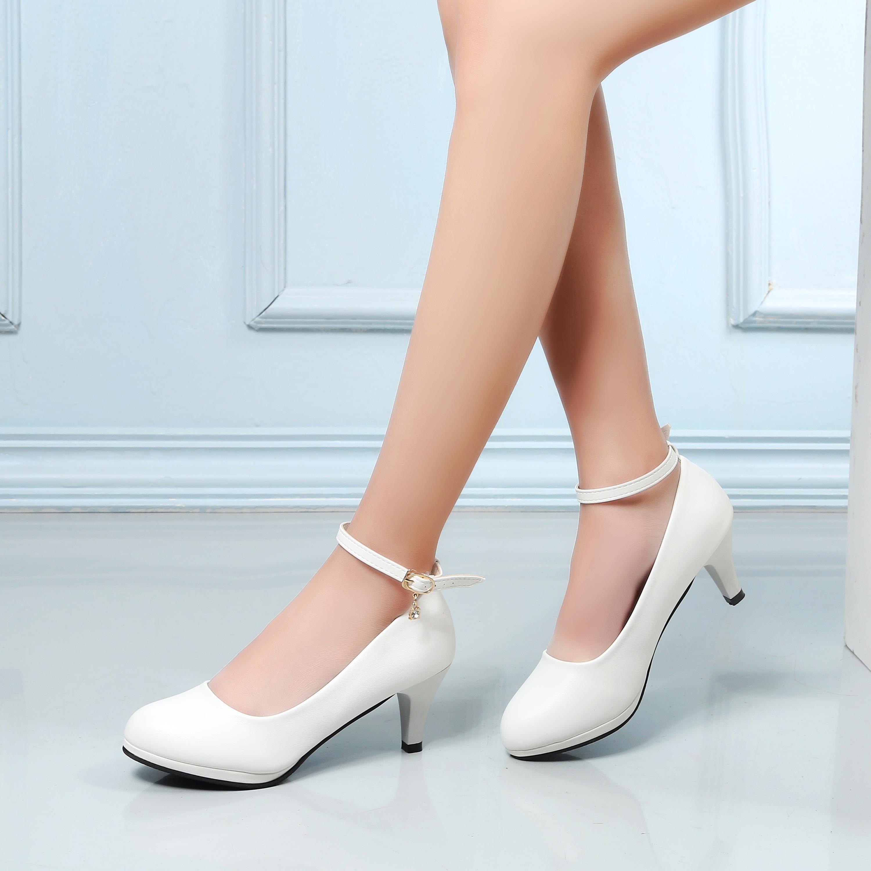 女鞋系带高跟鞋扣圆头防水职业走秀模特台软面白色鞋婚鞋