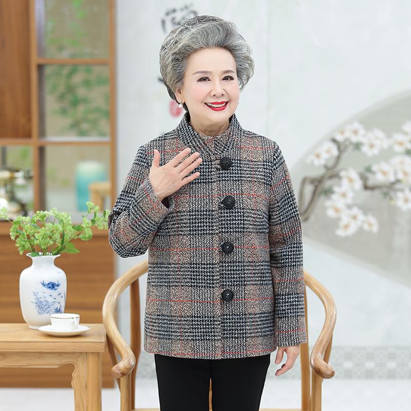 中老年格子新款女式秋季时尚立领女装开衫长袖单排扣毛呢妈妈服装