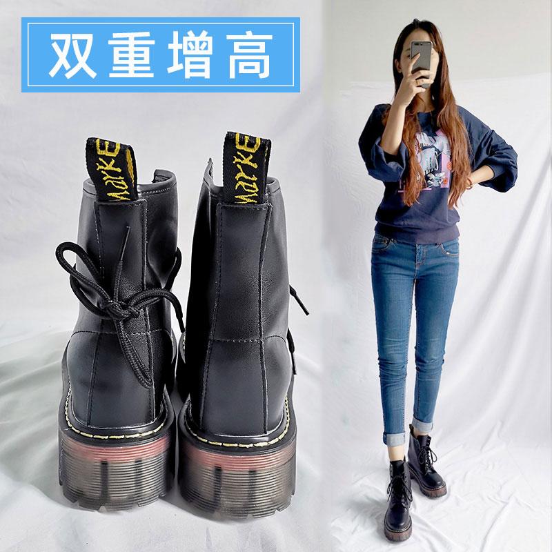 2020新型の中で、マーティンブーツの女性の小柄な8 cmのショートブーツの赤身の靴の本皮に绒の厚い底の小さいサイズの334を高くします。