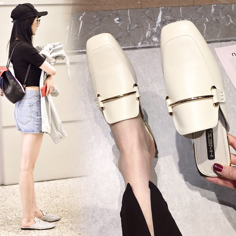 (用308.2元券)专柜包头外穿2019新款夏季半拖鞋